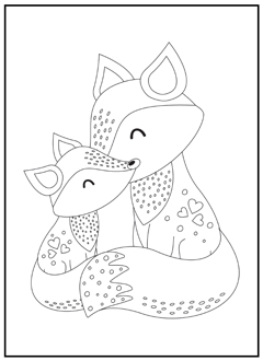 Cute Little Fox Coloring Page Rubber Stamp Zazzle Com Fox Coloring Page Animal Coloring Pages Unicorn Coloring Pages