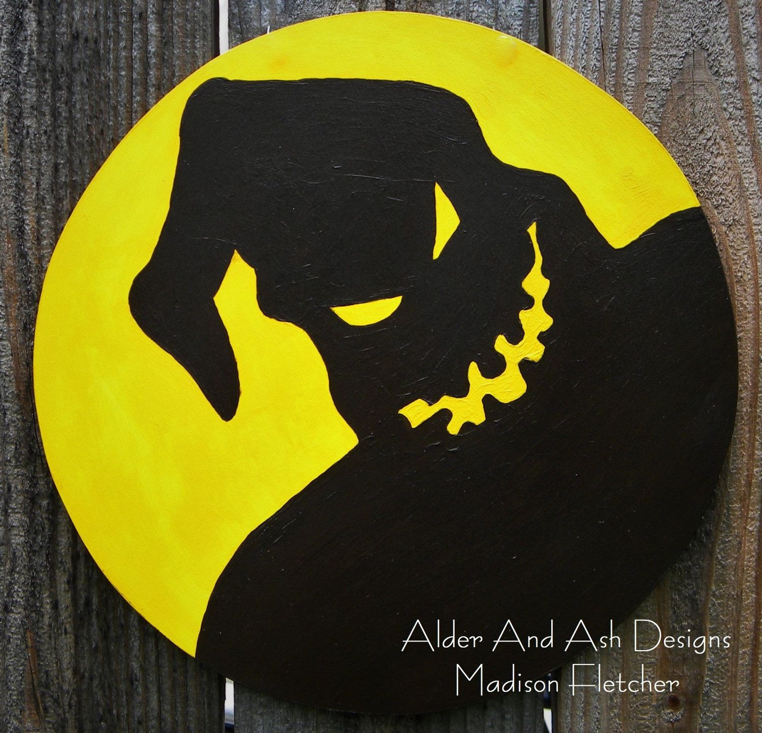 Nightmare Before Christmas Inspired Oogie Boogie, Wall Art, Wood - halloween decorations for the office