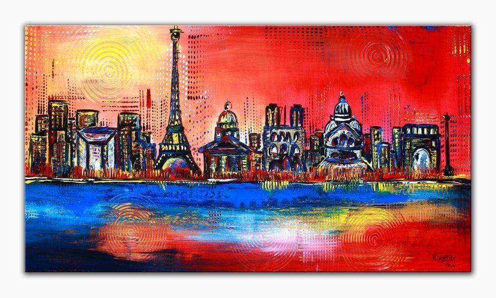 Burgstaller Original Gemalde Bilder Abstrakt Malerei Kunst Leinwand Stadt Paris Original Gemalde Malerei Kunst Malerei
