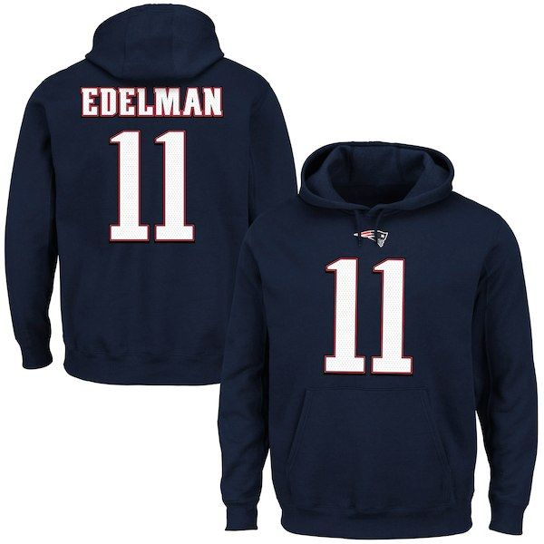 b66892a92f2 Julian Edelman New England Patriots Majestic Eligible Receiver II Name    Number Hoodie - Navy  NewEnglandPatriots