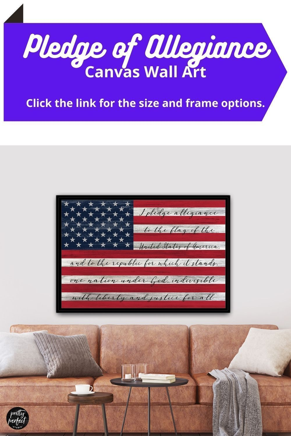 Large American Flag Sign With Pledge Of Allegiance In 2020 Wall Art Canva What Doe Mean To Me Republic Justice The