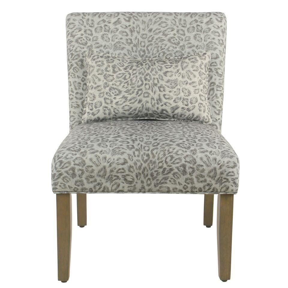 Porch Den Alvord Grey Cheetah Accent Chair With Pillow Grey