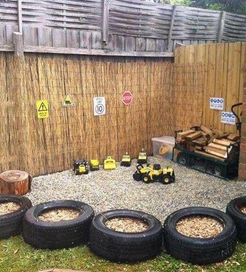 Outdoor Tonka truck play area. | Backyard play, Outdoor ...