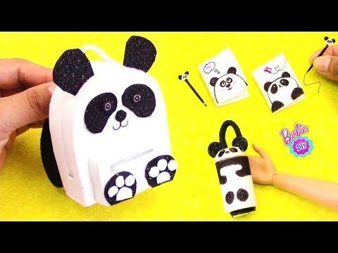 Como hacer MOCHILA y Accesorios de Panda para Barbie! Manualidades para muñecas
