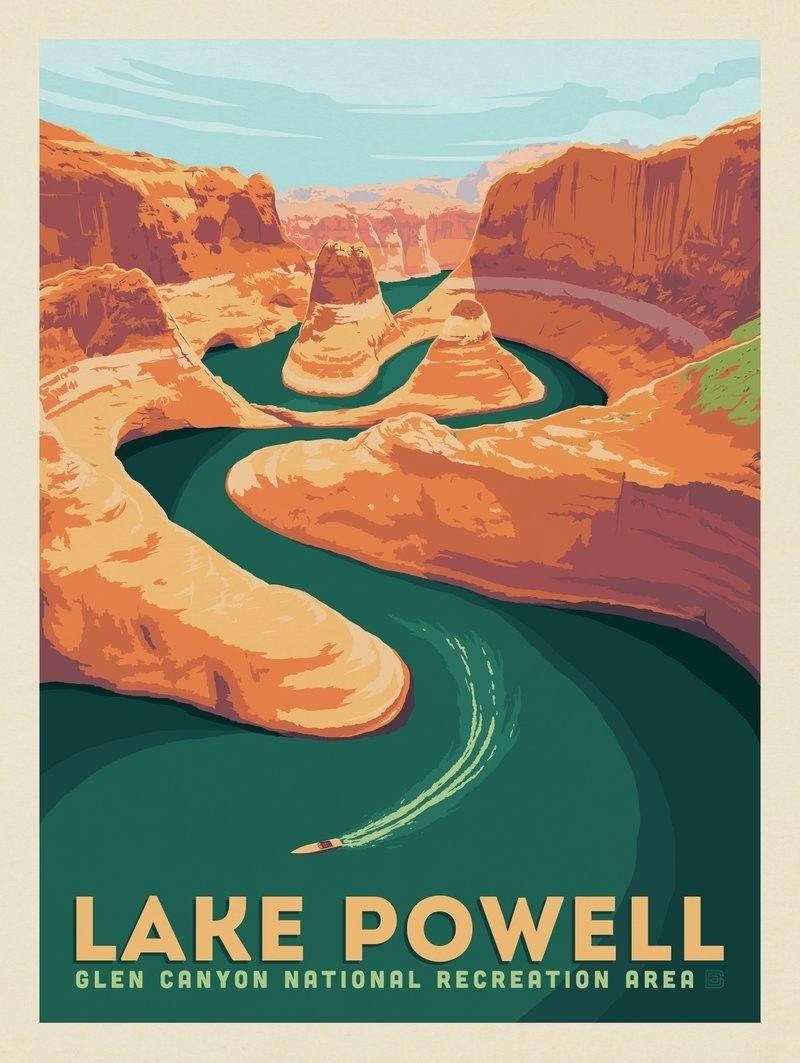 Lake Powell Arizona Utah Anderson Design Group Retro Travel Poster Lake Powell National Park Posters