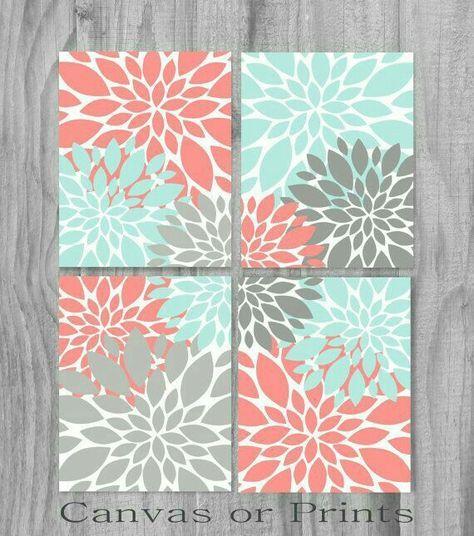 Coral Aqua Turquoise Gray Print or Canvas Art Print Home Decor ...