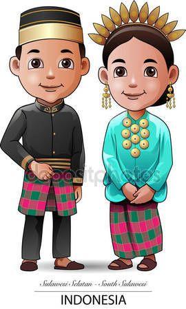 Pakaian Adat Vector : pakaian, vector, Download, Makassar, Traditional, Cloth, Stock, Illustration, #170446330, Fashion, Illustration,, Design,, Vector