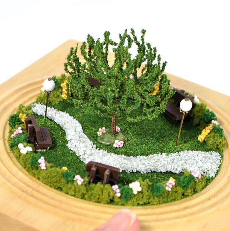 Spring Park  Miniature Garden Scene Handmade Diorama Desktop Garden Fairy Garden Terrarium G Spring Park  Miniature Garden Scene Handmade Diorama Desktop Garden Fairy Gar...