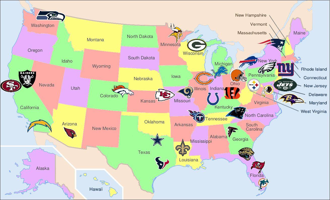 Map Of Nfl Jpg 1310 796 Kansas Missouri Nfl Bucket List