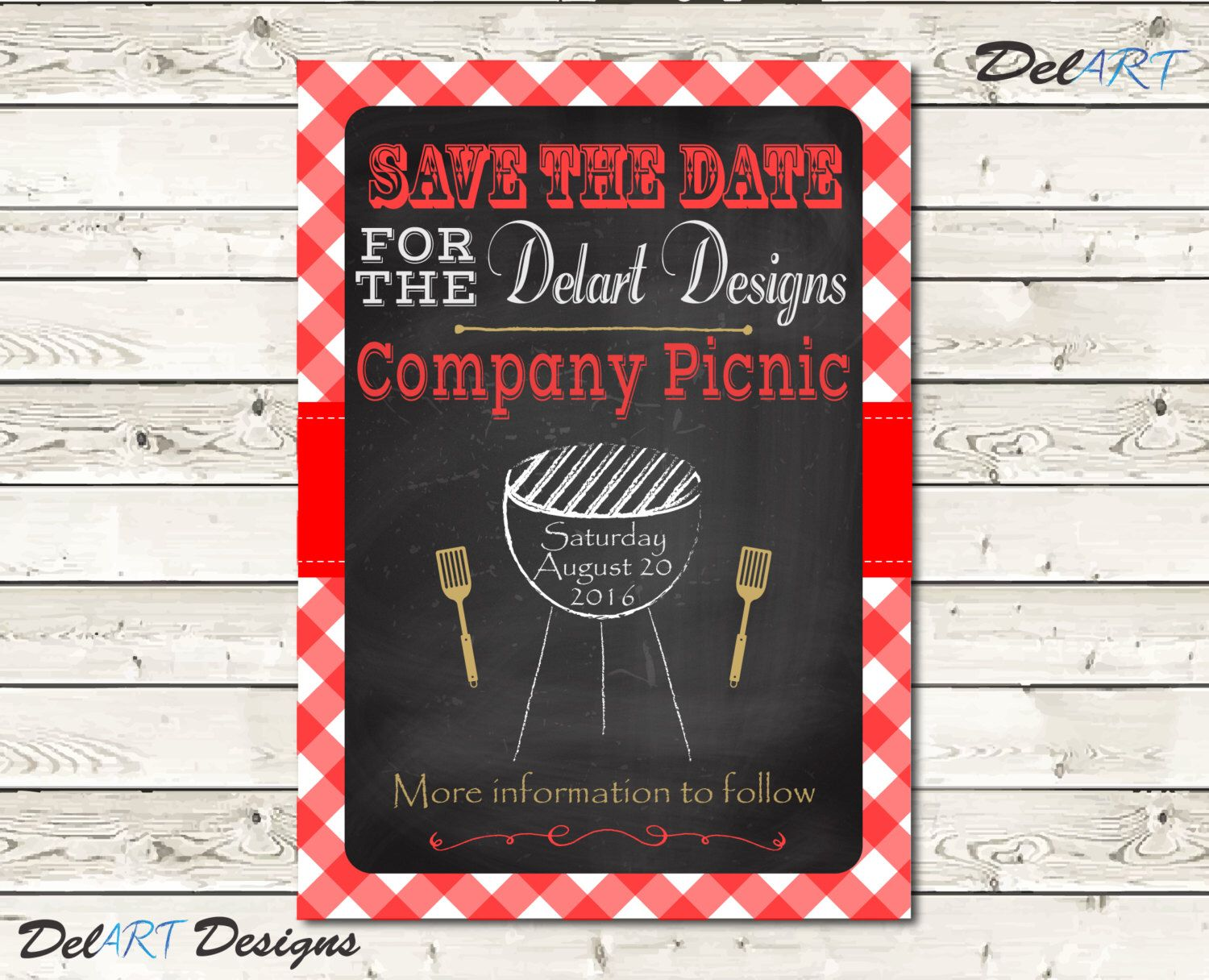 Chalkboard Picnic Save the Date Invitations, BBQ Picnic Birthday ...