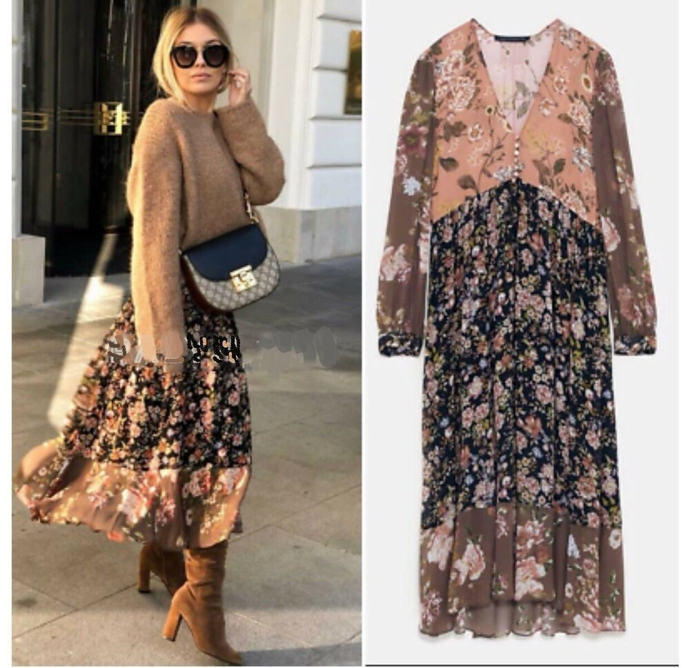 8429bc28486 NWT ZARA Floral Print Dress V Neck Asymmetric Midi Size S Ref. 8076/727 # ZARA #Casual