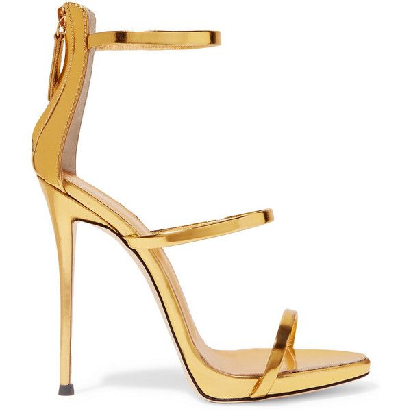 Giuseppe Zanotti Metallic leather sandals (¥65,915) ❤ liked on Polyvore featuring shoes, sandals, heels, gold, metallic strappy sandals, high heel sandals, platform stilettos, leather sandals and platform shoes