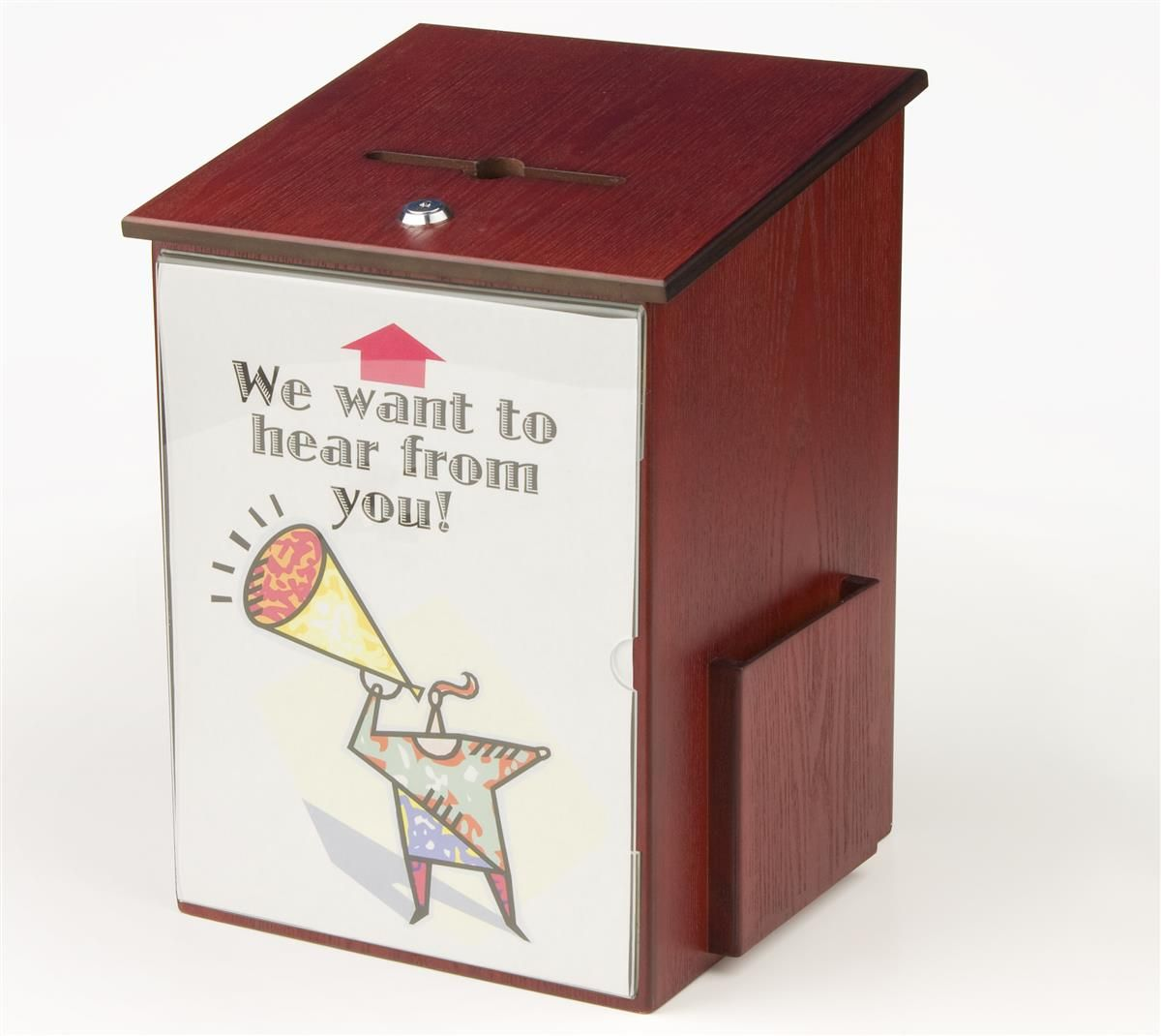Wooden Ballot Box W Sign Holder Side Pocket Pen  Lock Wall Or
