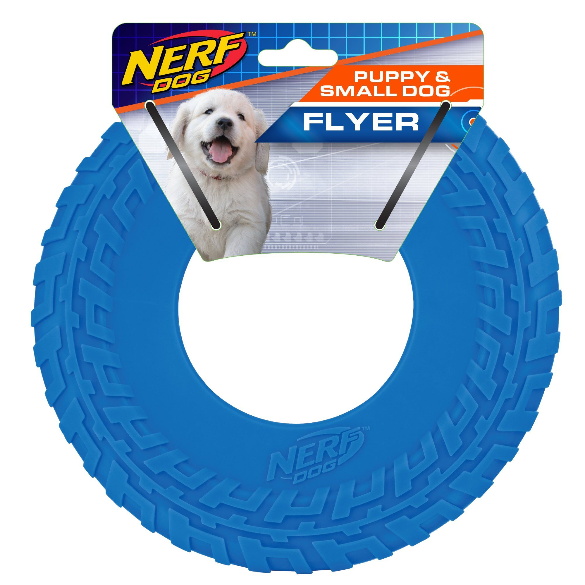 Interactive Dog Toys Nerf Blue TPR Tire Flyer Dog Toy, Small | Petco