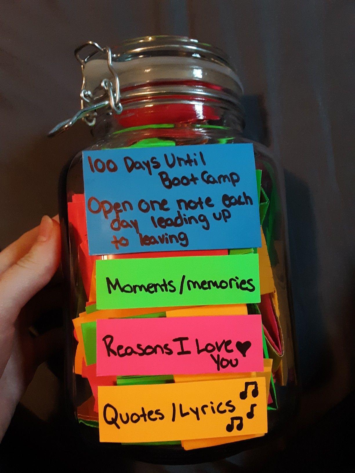 100 Days Until Boot Camp Love Jar Jar Mason Jar Gifts Diy
