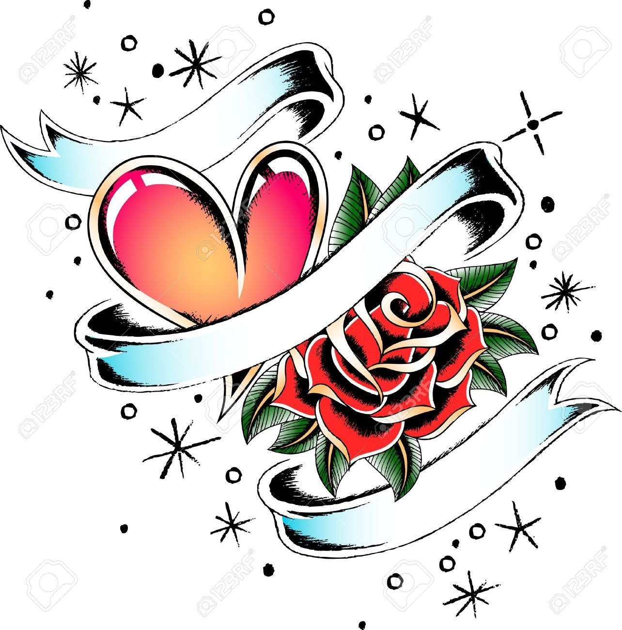 Heart With Rose And Banner: Tattoo Heart With A Banner - Google Search