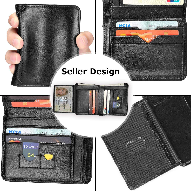RFID Blocking Trifold Genuine Leather Wallet Pocket Credit Card ID Window Black