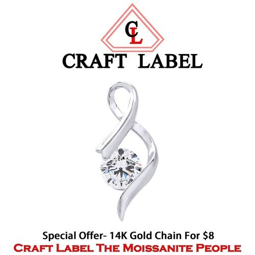 """1/4 Ct Round Cut White Diamond 14K Gold S Design Pendant Without Chain """"Father\'s Day Gift"""". Starting at $1"""