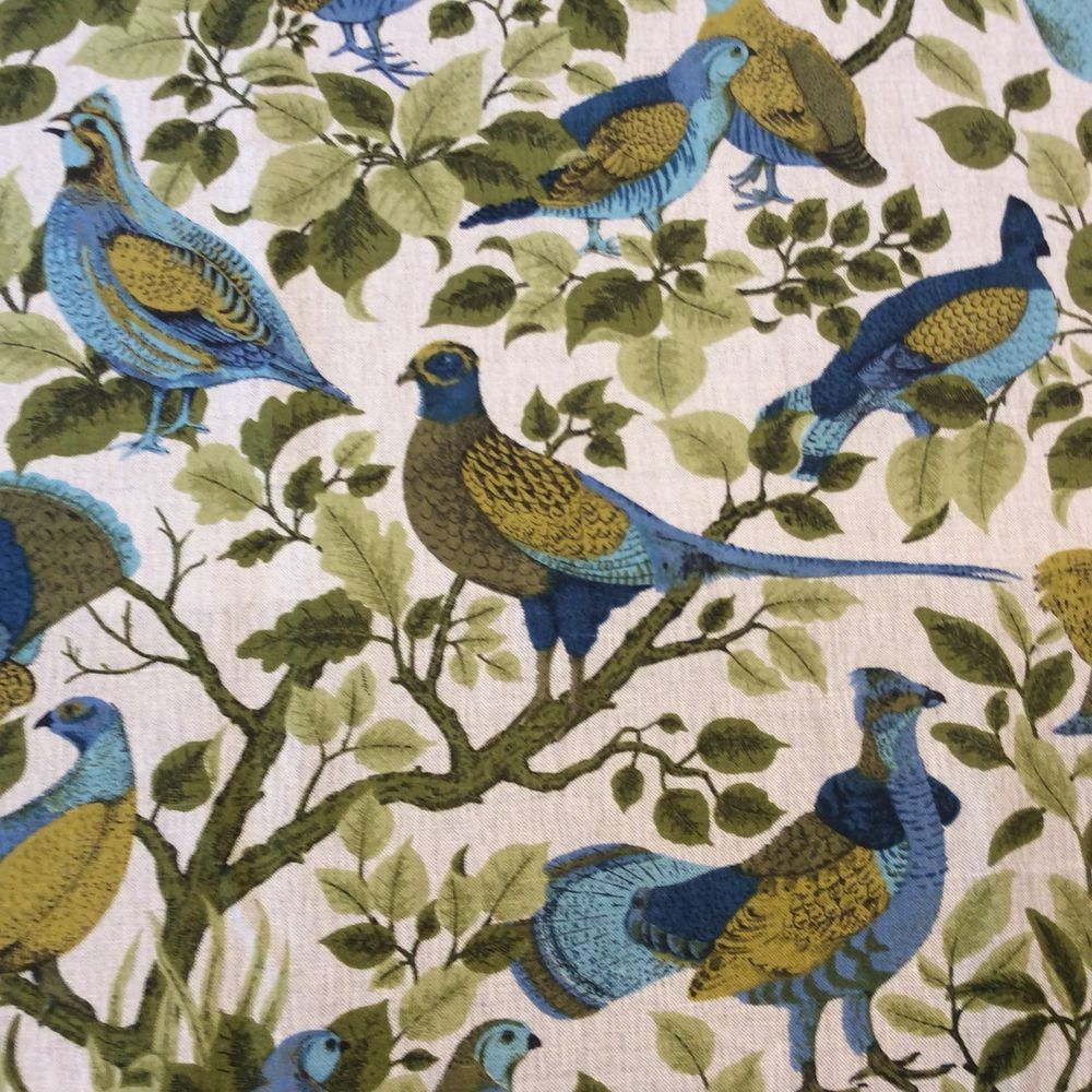 MCM 100% Linen Fabric Material Bird Quail Pheasant Leaves 49