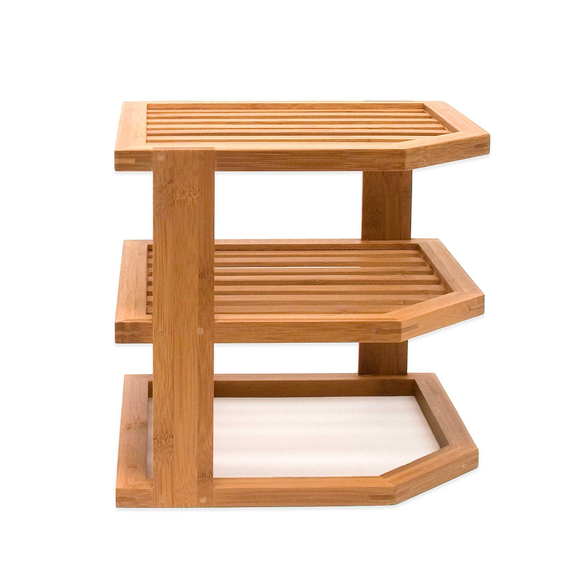 Lipper 3 Tier Corner Bamboo Shelf Bamboo Shelf Kitchen Storage Shelves Corner Shelves