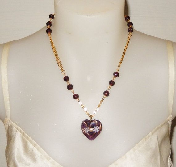 Gold chain heart pendant necklace  Purple by MYHIGHSTREETBOUTIQUE, $30.00