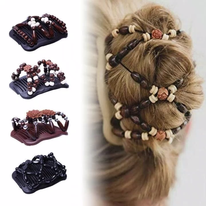 Fashion beautiful hair comb magic ever-changing hairpin wooden beads hair comb #beads