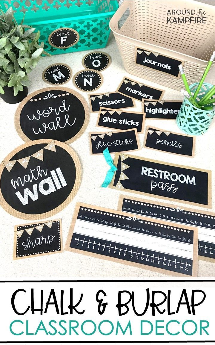 Burlap and Chalkboard Classroom Decor Set is part of Calming Classroom decor - Create a calm and cohesive classroom for any grade level with this stylish burlap and chalkboard classroom décor  Includes over 100 resources to help you organize, communicate, and manage your classroom with confidence  Multiple styles of readymade labels and decor