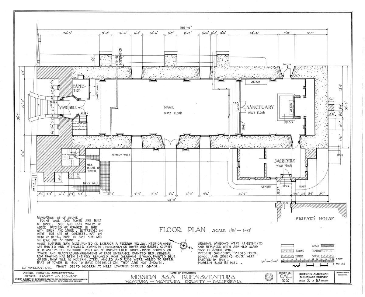 Floor Plan Sketch Floor Plan Of Church C 1936 From