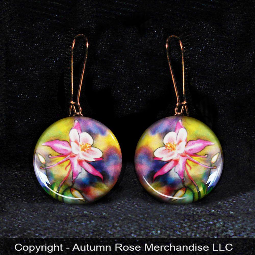 "Pink Columbine Flowers Button Earrings, Mother of Pearl ""Handmade"" #Handmade #Dangle"