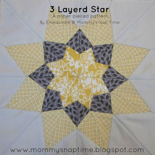 Mommy's Nap Time: {Sew} Beautiful Bee - Paper Pieced 3 Layered Star & Tutorial
