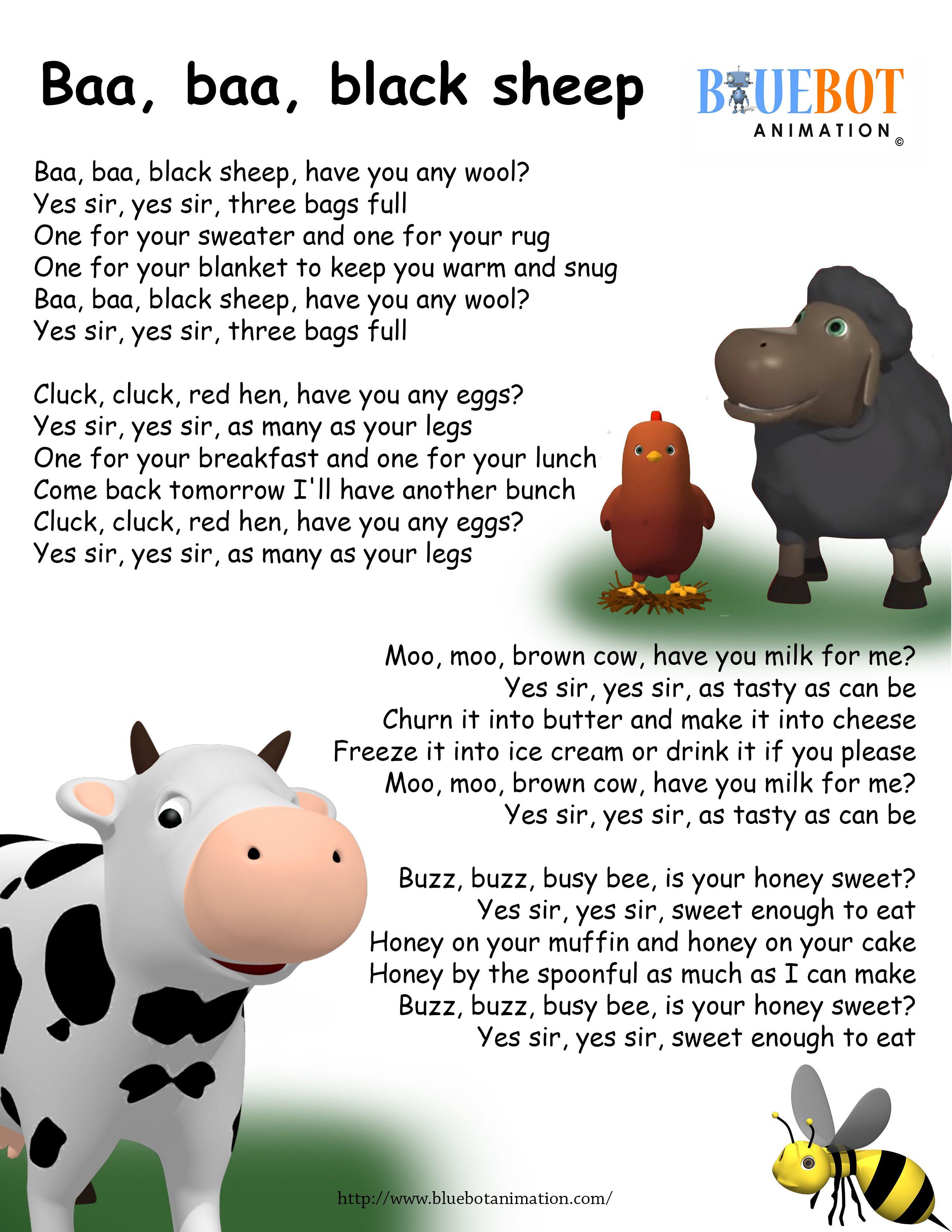 Ba Ba Black Sheep Nursery Rhyme Lyrics Free Printable