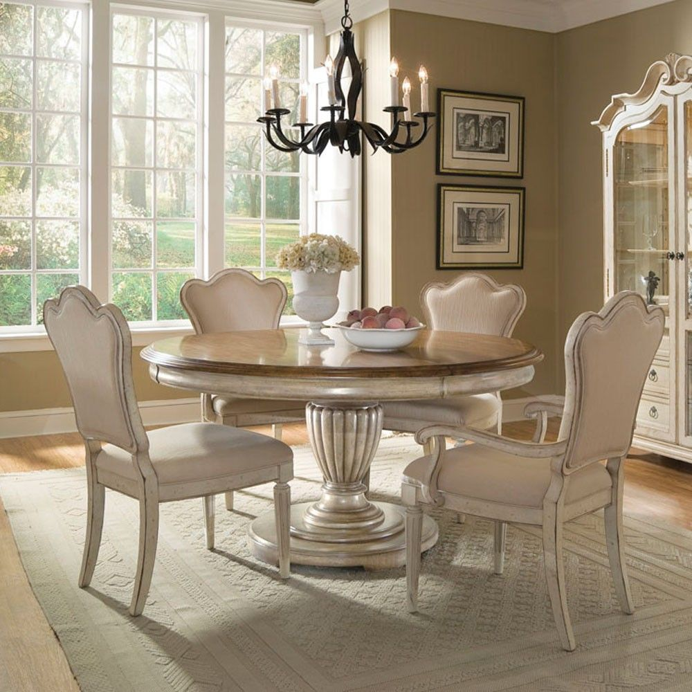 Bringing The Outdoors In Kitchen Dining Great Room: Provenance Wood Round Dining Table In Antique Linen In