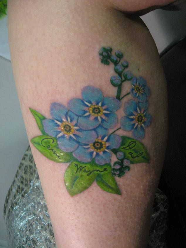 Forget Me Not Art & Soul Tattoo and Gallery #FlowerTattoo #LegTattoo