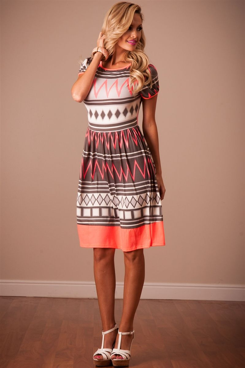 Neon Coral Summer Dress  Affordable Modest Boutique -6927