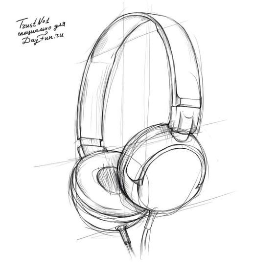 How To Draw Headphones Step By Step 3 Headphones Drawing Drawings 3d Drawings