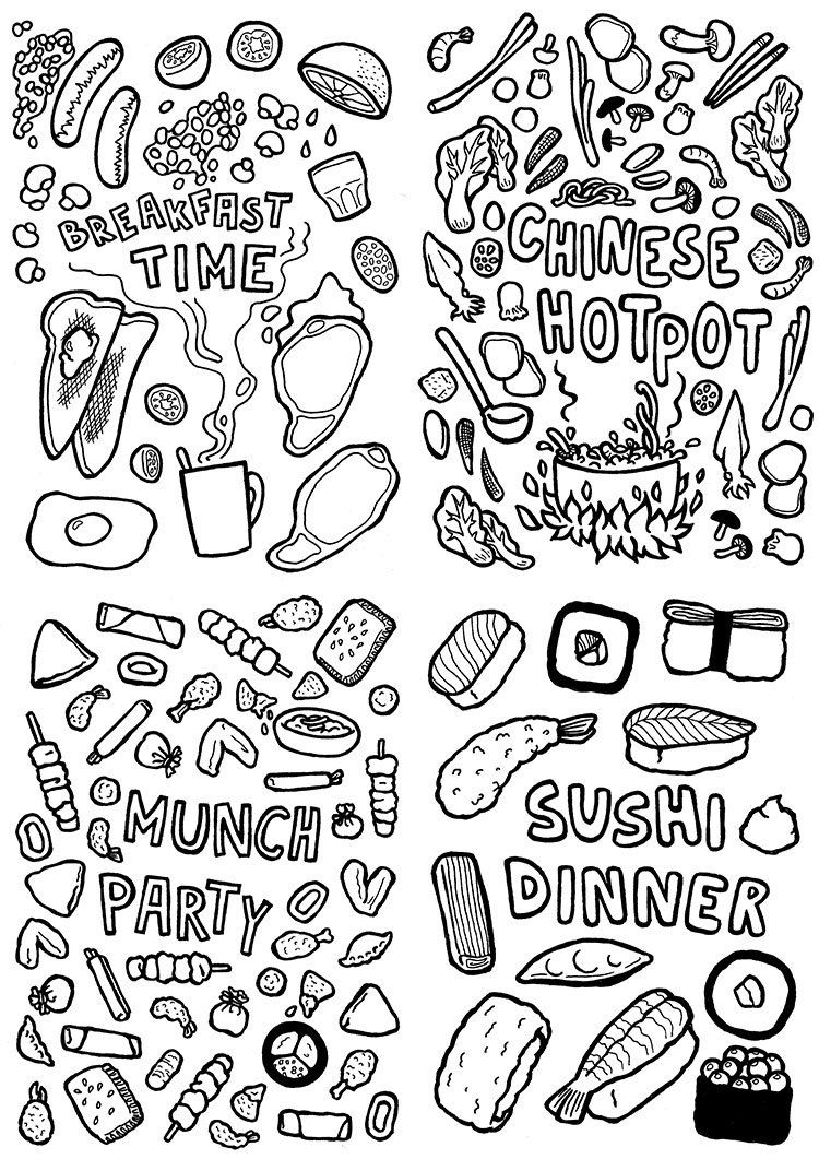 Create Your Own Mouth Watering Foodie Poster With This Printable Design This Colouring Page Features 4 Different Meal Food Coloring Pages Coloring Pages Sushi