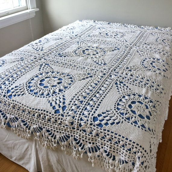 Vintage Crocheted Bedspread - Ecru Off White Cotton Bedding Large ...