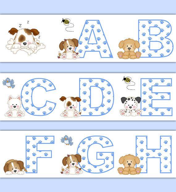 puppy nursery decor alphabet wallpaper border wall art decals boy