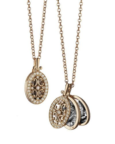 Monica Rich Kosann 18k Rose Gold Diamond Gate Locket Necklace