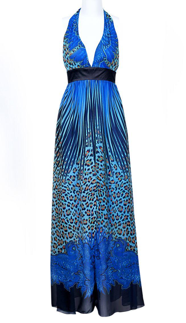 Blue Halter Sleeveless Peacock Print Bandeau Dress