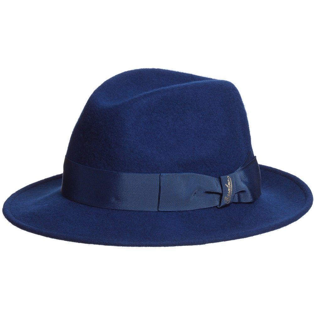 aa2ac066cad Borsalino Blue Felted Merino Wool Fedora Hat   Box at Childrensalon.com
