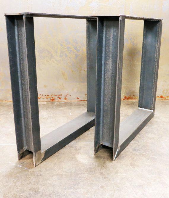 Steel Table Legs Set Of 2 U Shape Made In Los Angeles Etsy In 2020 Steel Table Legs Steel Table Table Legs