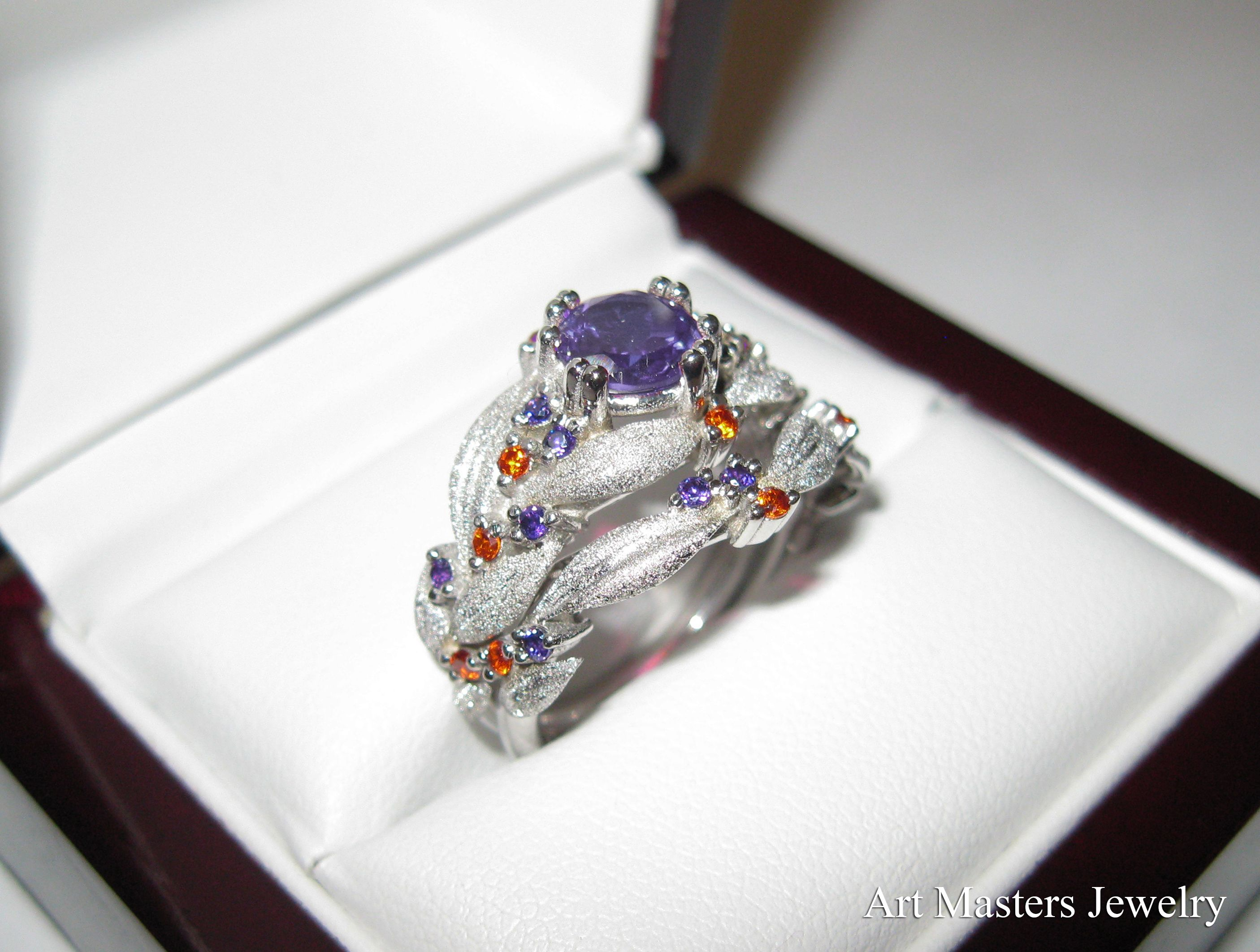 beautiful vintage art engagement wedding c aquamarine ring orange estate rings deco diamond s