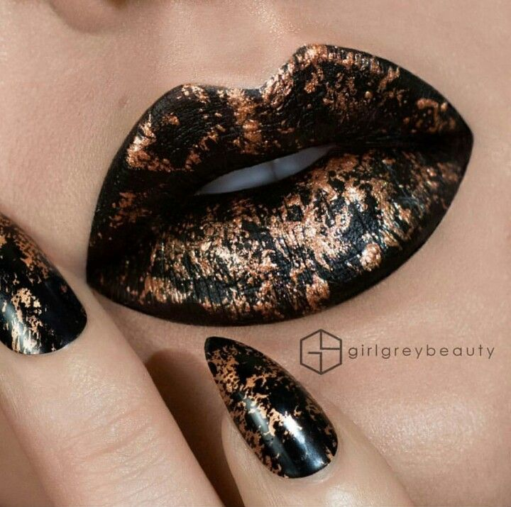 Black and copper lip and nail design | My Style - Beauty | Pinterest ...