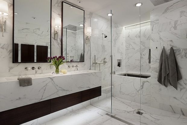 Coming Clean: The 2014 Bathroom Trend Report & Floating vanity with underlighting. Bath/Shower Glass enclosed stall ...