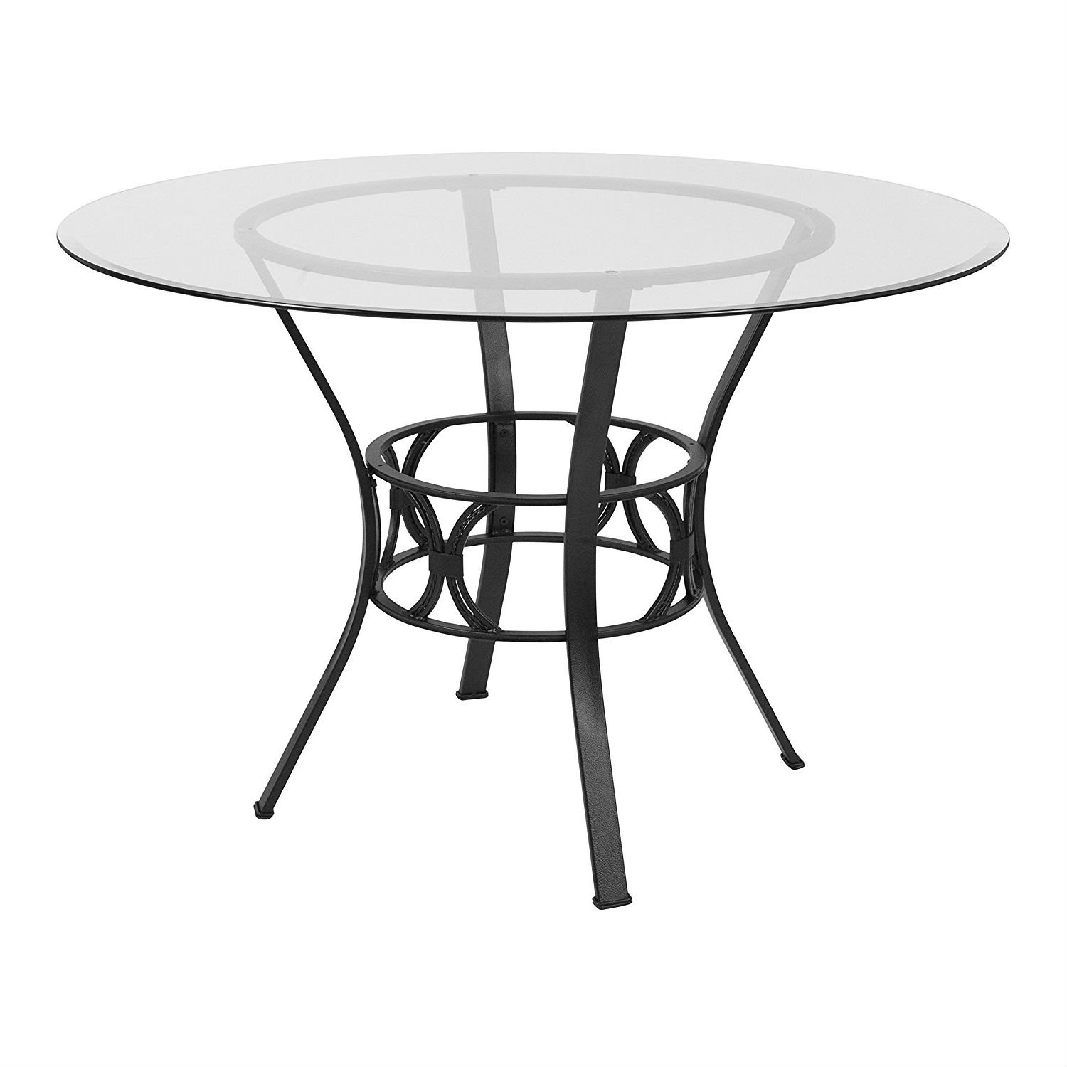 Contemporary 45 Inch Round Glass Dining Table With Black Metal Frame