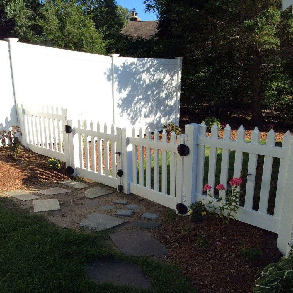 Weatherables Plymouth 8 Ft W X 4 Ft H White Vinyl Picket Double Fence Gate Kit Dwpi 3r5 5 4x48 The Home Depot Privacy Fence Designs Vinyl Picket Fence Fence Design