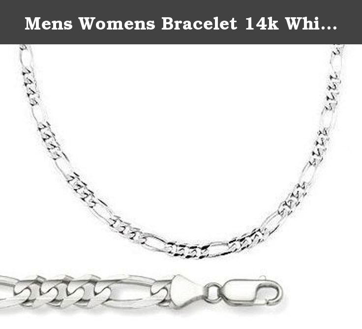 dfc84f8d5 Mens Womens Bracelet 14k White Gold Figaro Link Solid 2.5mm 7 inches.  Authenticated with a 14K stamp Solid 14K gold, not plated. Includes lobster  clasp to ...