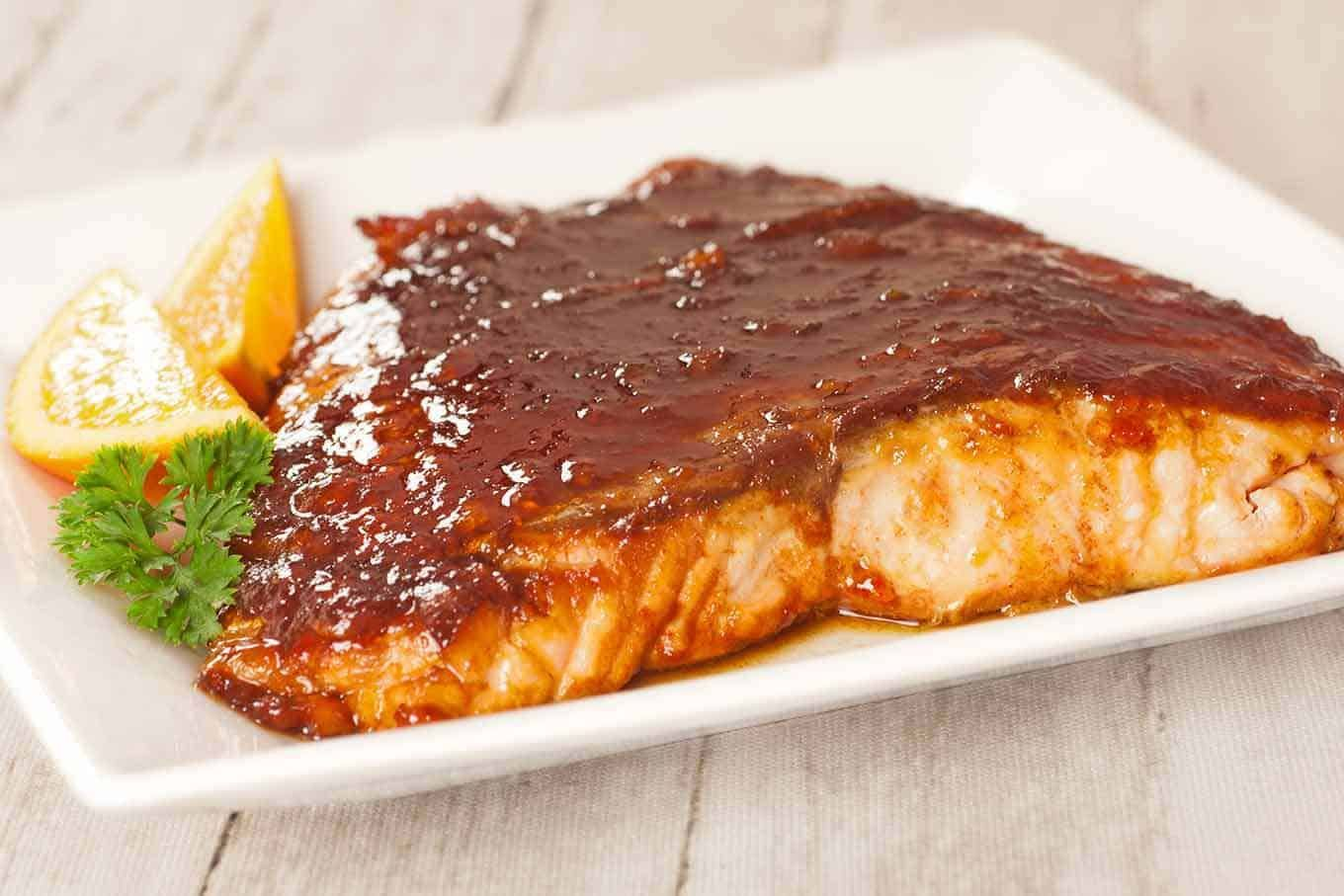 Molasses-Marmalade Glazed Salmon Recipe | MyGourmetConnection