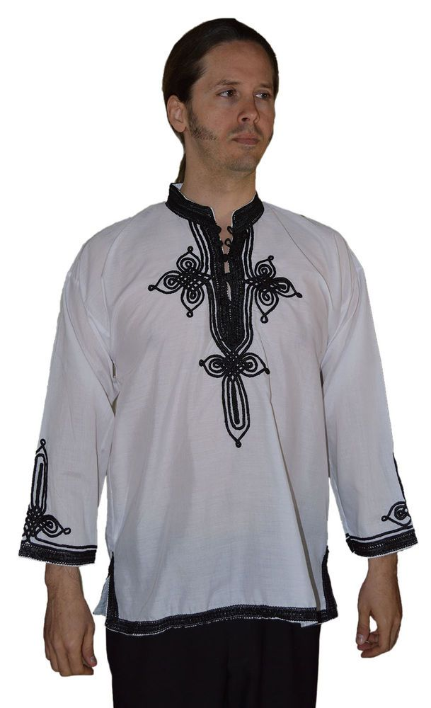 Large Black Moroccan Men Tunic Shirt Cafan Casual Handmade Embroidered Cotton X